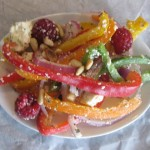Sweet Bell Pepper Salad with Feta and Raspberries