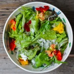 Summer Salad with Preserved Chive Flower Vinaigrette