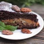 Turtle Cake: Chocolate Cake with Rich Gooey Caramel Pecan Filling