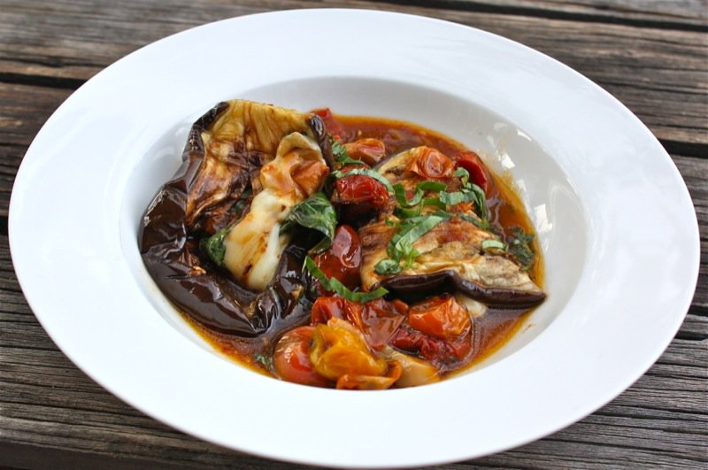 Rolled Eggplant with Oven Roasted Tomatoes