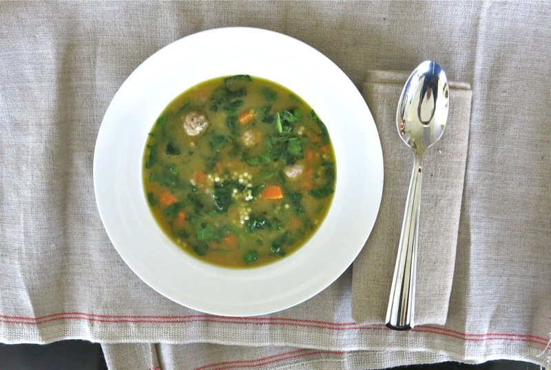Italian Wedding Soup with Beef Meatballs and Spinach