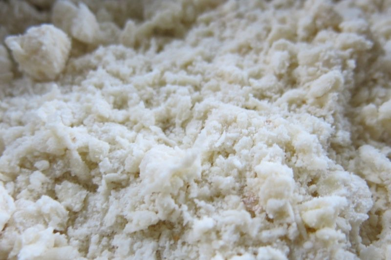 Butter cut into flour mixture for pie pastry