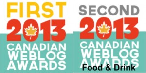 Canadian Web Blog Award 2013 www.acanadianfoodie.com FIRST
