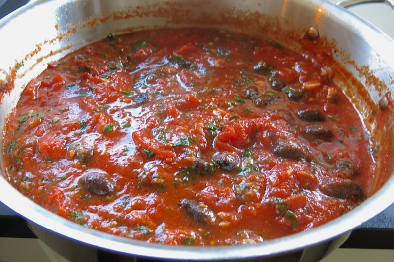 12 Tomato Sauce with Olives and Capers for Baccala
