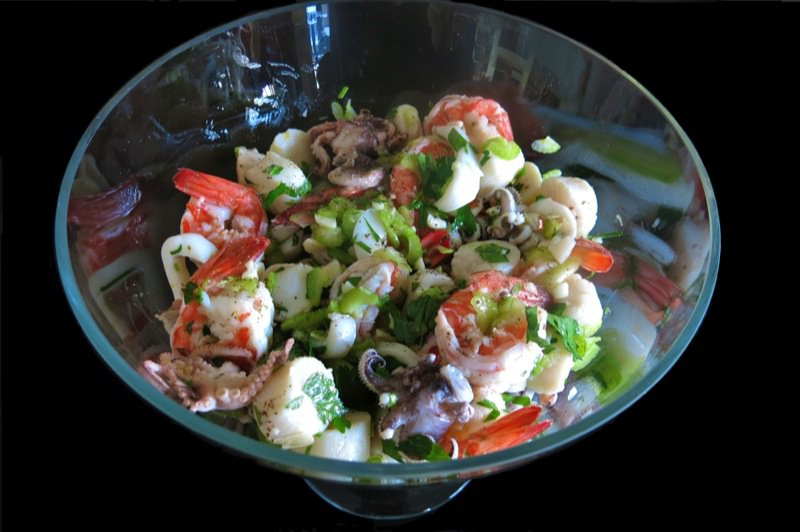 3 Marinated Seafood Salad Full Bowl