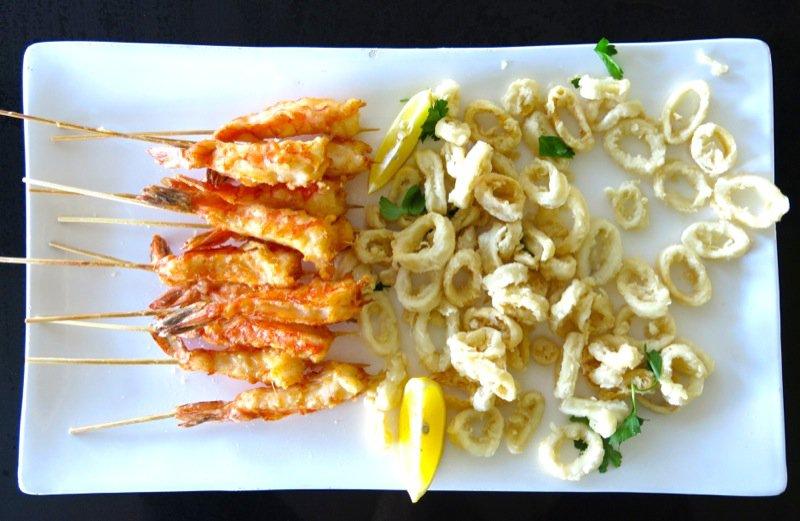 5 Deep Fried Shrimp and Calmari on Platter