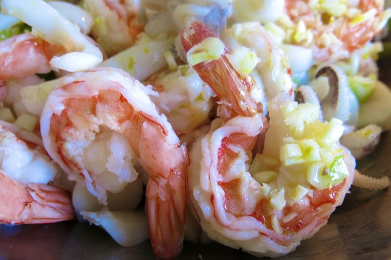 7 Close up Marinated Seafood Salad Shrimp