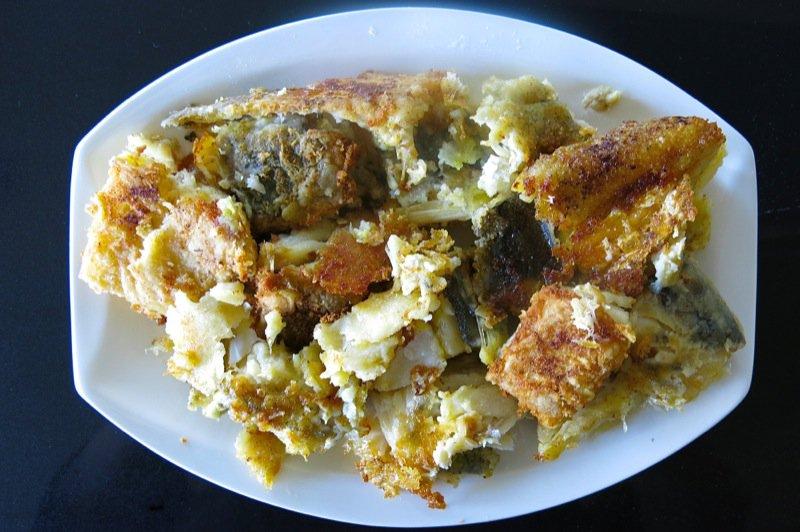 9 Fried Baccala on Plate