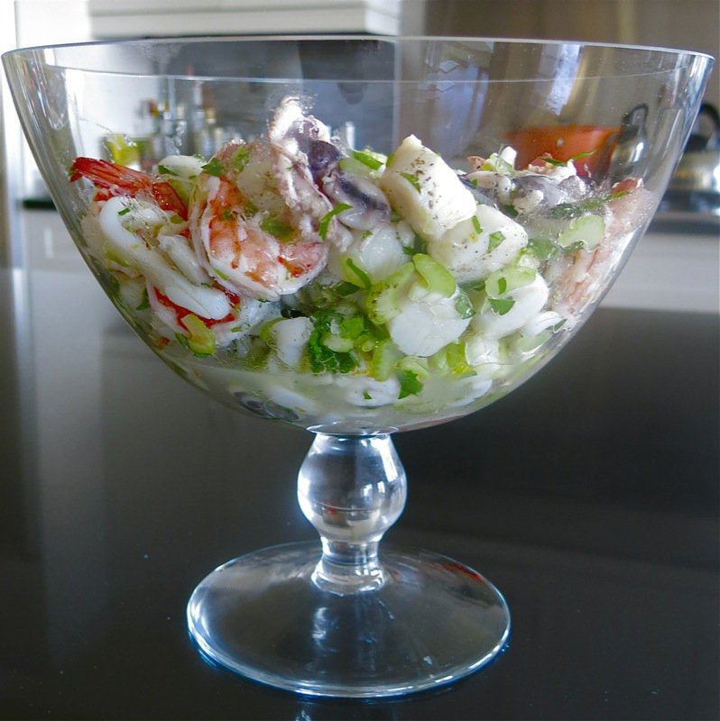 9 Marinated Seafood Salad in Pedestal Dish