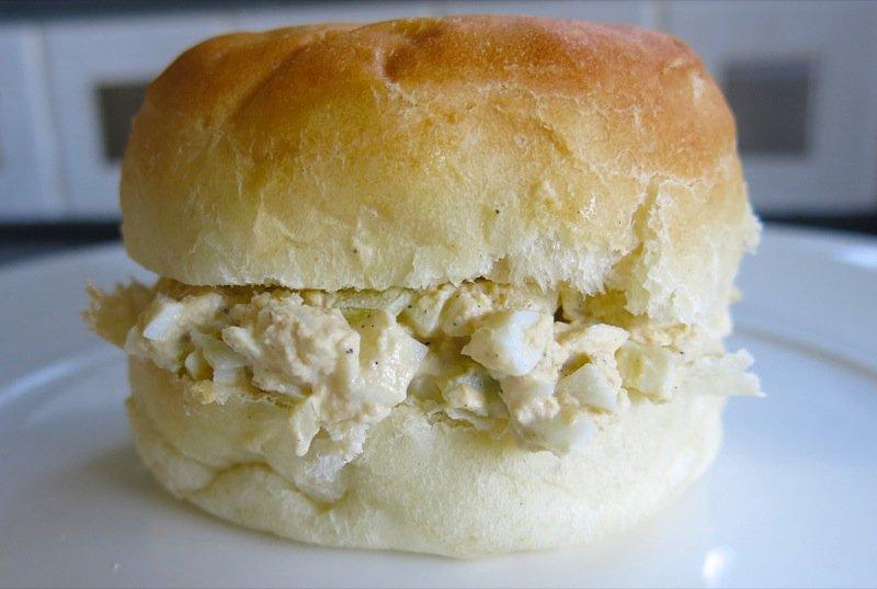1 Homemade Eggsalad on a homemade bun