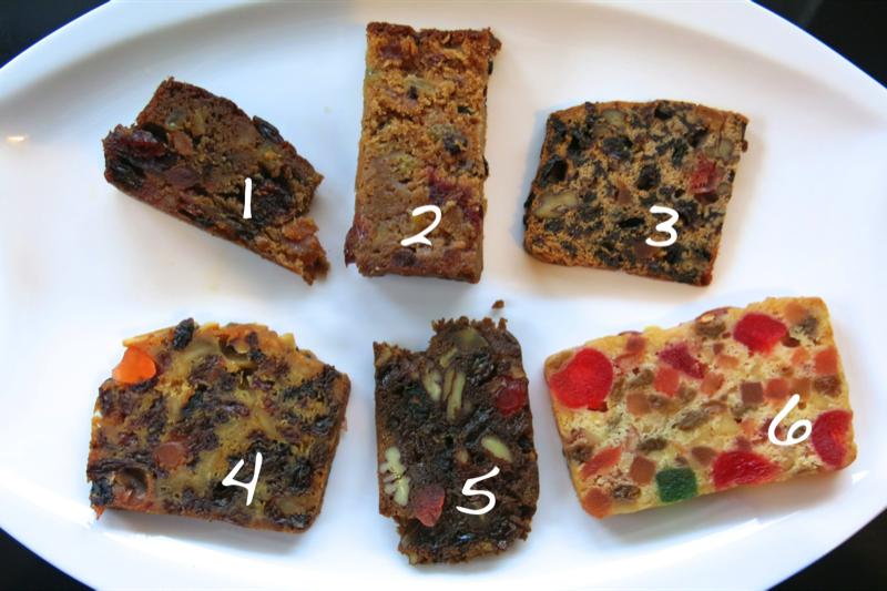 10 christmas cake tastings numbered