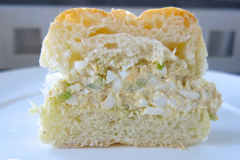 3 Homemade Eggsalad on a homemade bun half