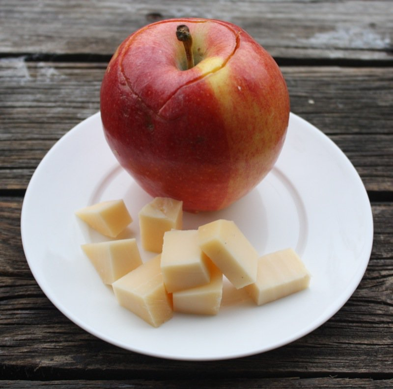 4 cored apple with cheese