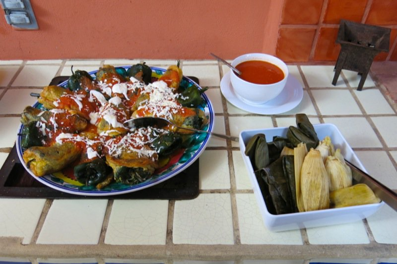 103 Stuffed Pablanos, Tamales and Sauce