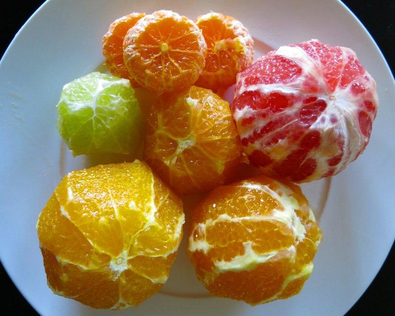 4 Peeled Citrus close up