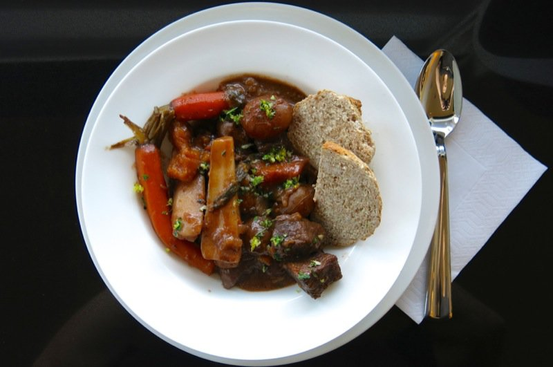 9 Irish Stew plated with Irish Soda Bread