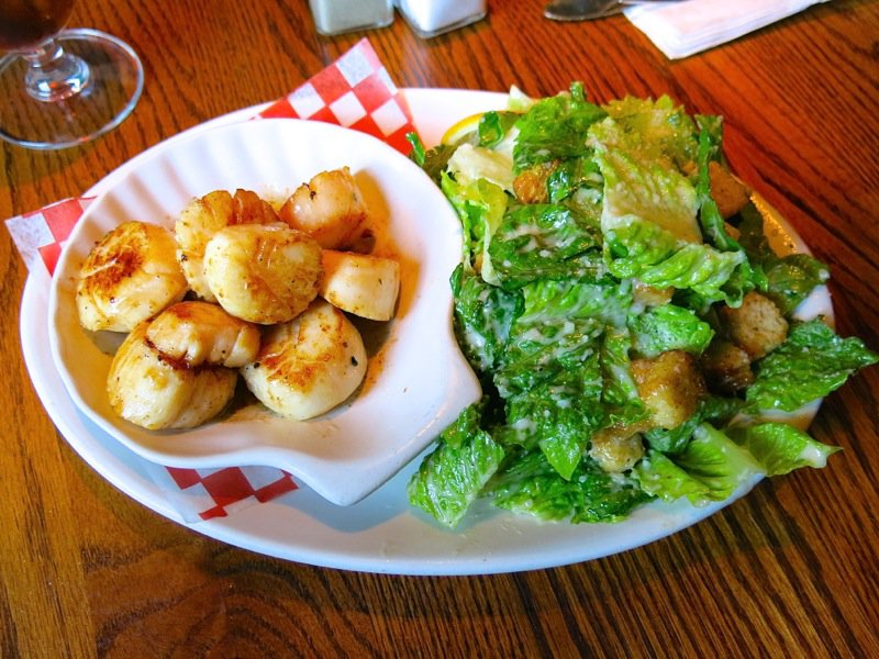 Scallops and Caesar Salad