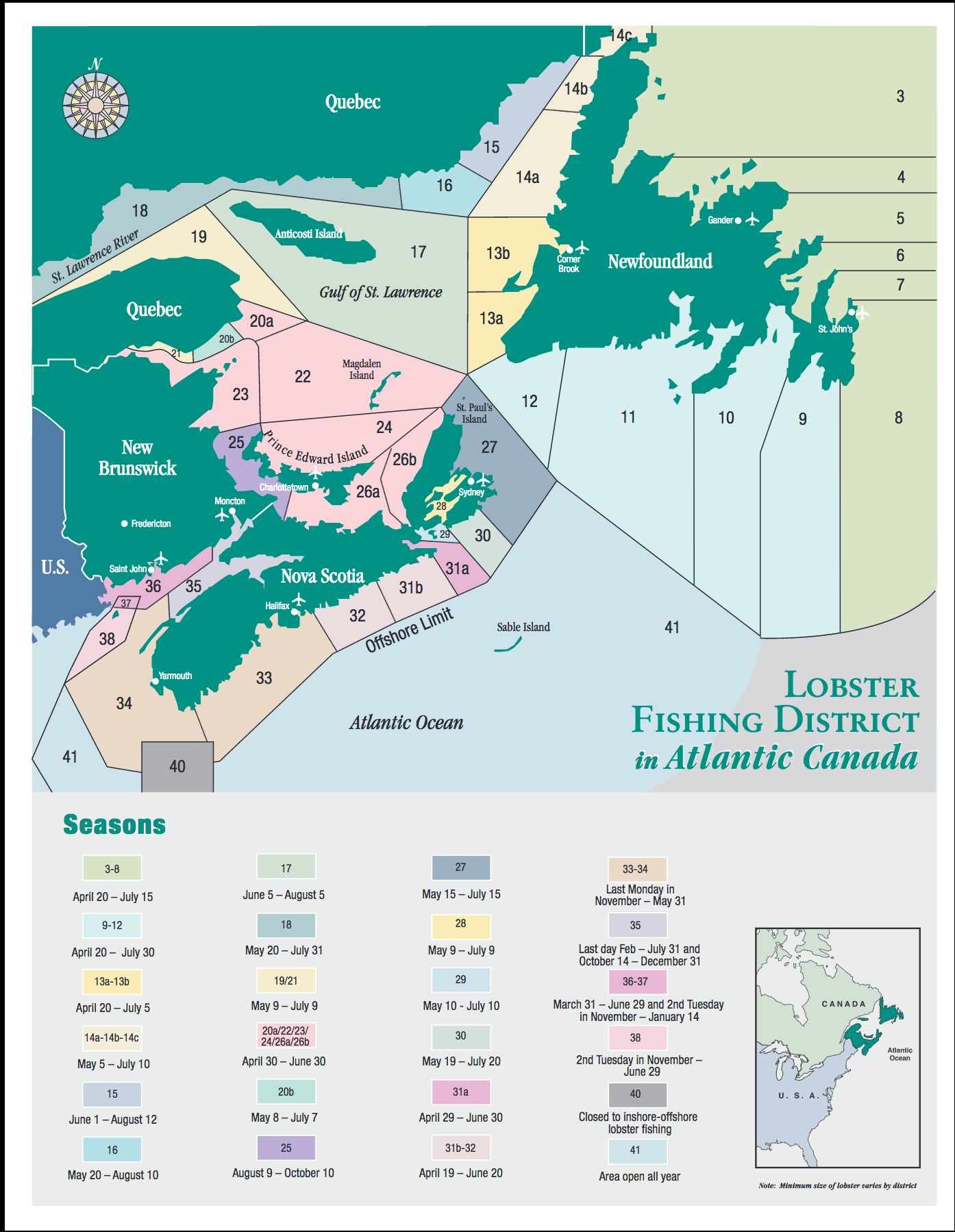 Atlantic Canada Lobster Fishing Districts