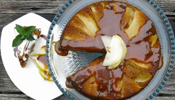 Bartlett Pear Upside Down Gingerbread Cake