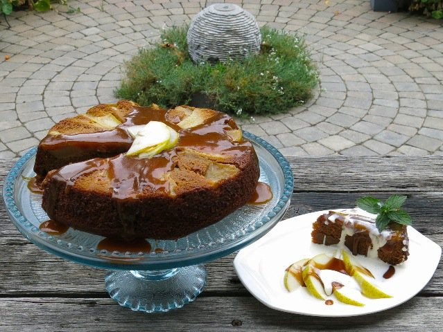 2 Pear Upside Down Gingerbread Cake