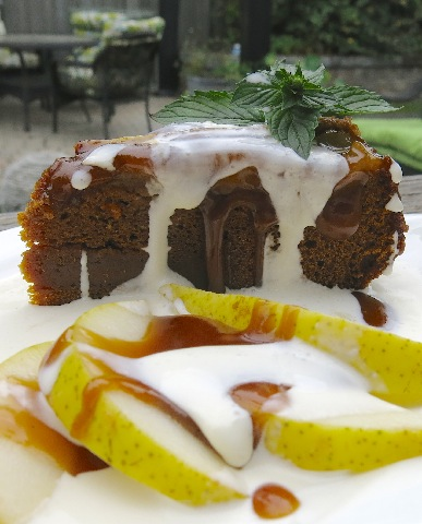 33 Pear Upside Down Gingerbread Cake