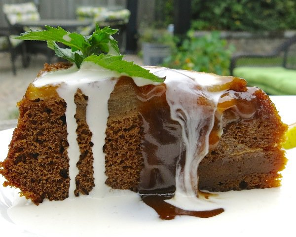 5 Pear Upside Down Gingerbread Cake