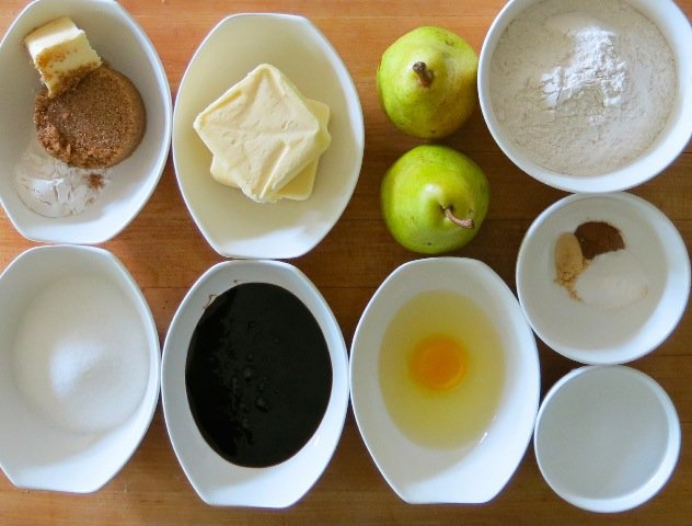 6 Mis en place Pear Upside Down Gingerbread Cake