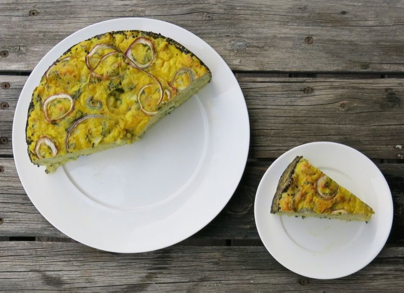 Eggs, Parmesan cheese, onion, basil and cauliflower create the flavour ...