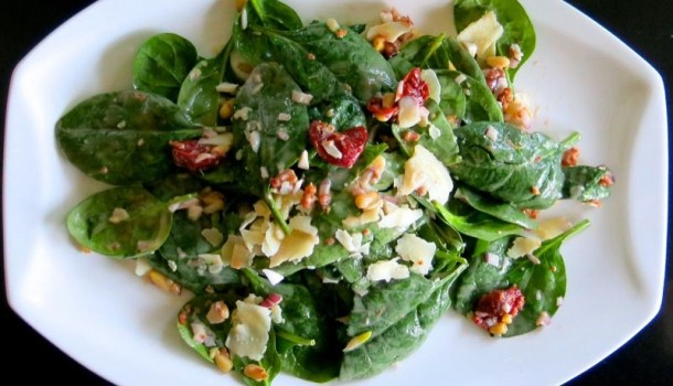Spinach Salad with Preserved Sour Cherries