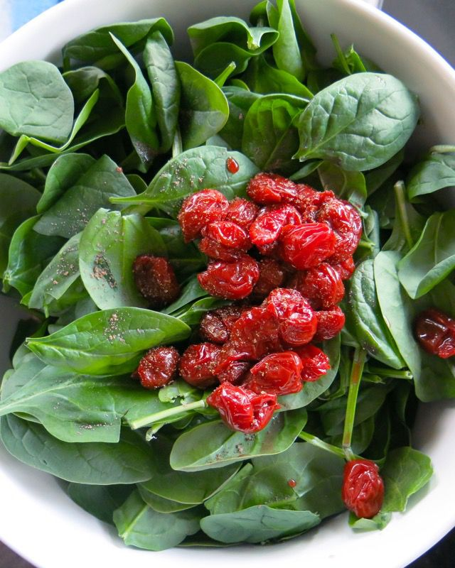 18 Spinach Salad with Preserved Sour Cherries