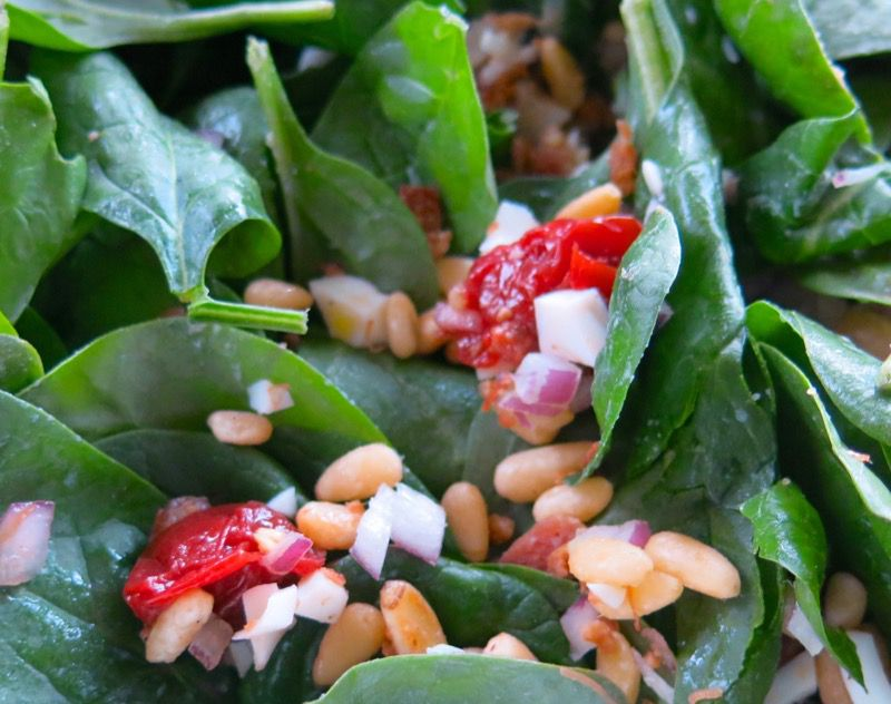 19 Spinach Salad with Preserved Sour Cherries