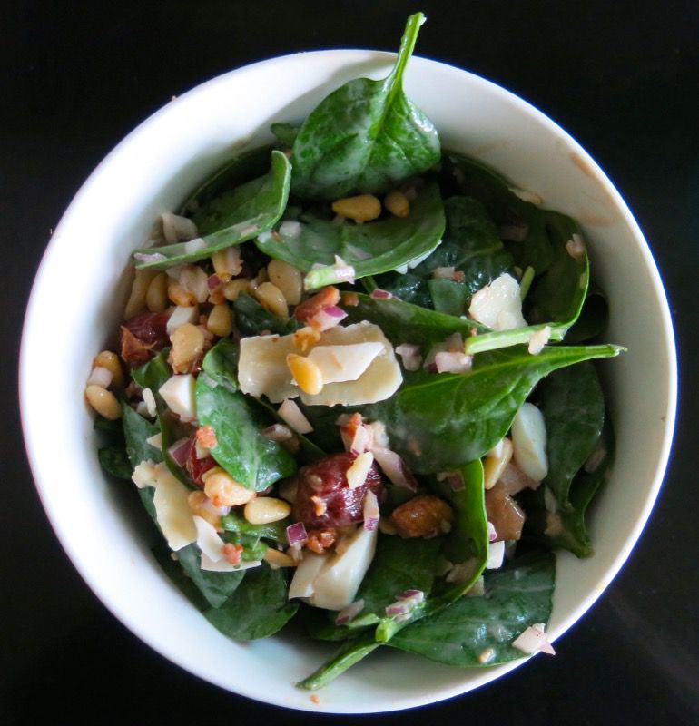 23 Spinach Salad with Preserved Sour Cherries