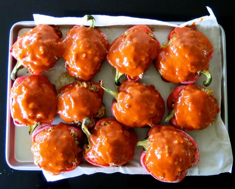 29 Stuffed Peppers with Moms Meatloaf Topping