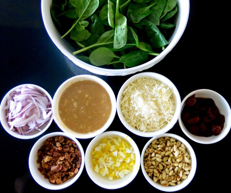 3 Spinach Salad Mis en Place