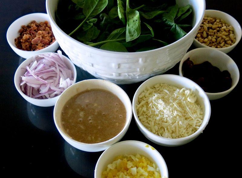 4 Spinach Salad Mis en Place