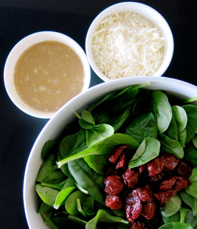7 Spinach Salad with Dressing and Cheese