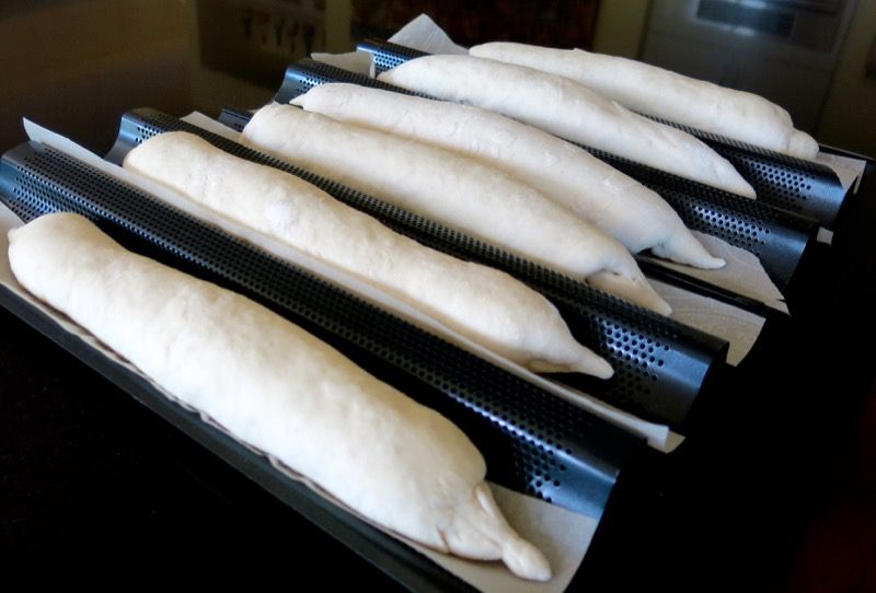 13 Baguettes in Pans after Proofing