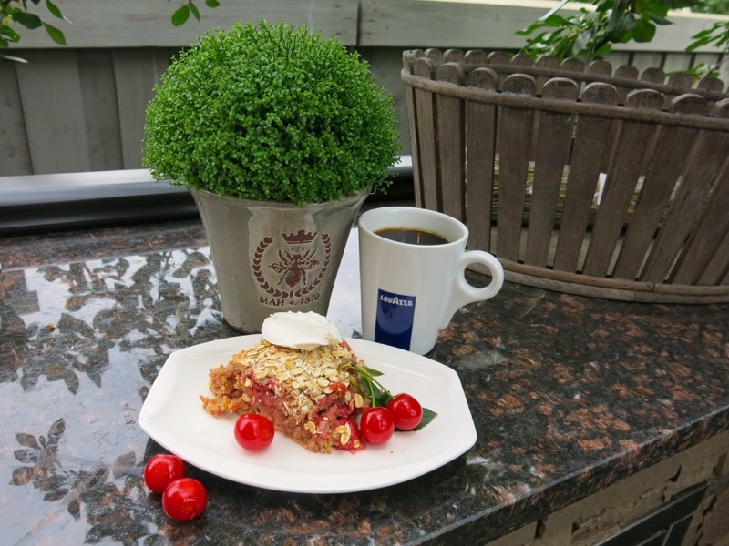 "... own garden"" breakfast with a steamy cup of Lavazza, that's what"
