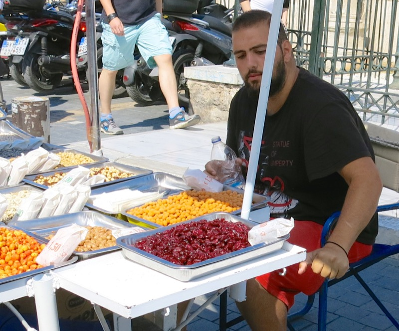 Greek Fruit and Nut Vendor Athens