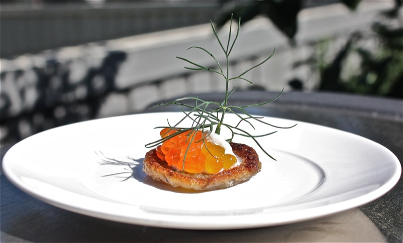 Thermomix Buckwheat Blinis with Creme Fraiche and Salmon Roe