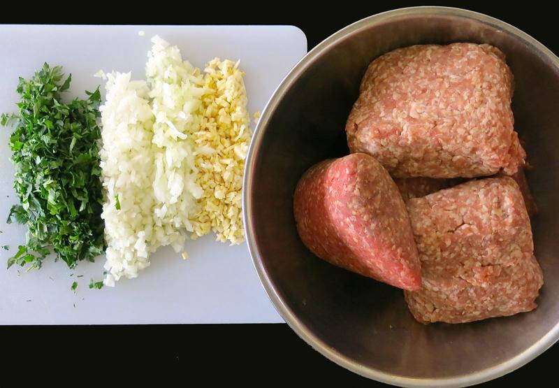 2 Meatball Meatballs. Mis en Place