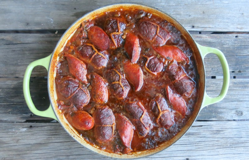 24 Baciole with Sausage in Tomato Sauce
