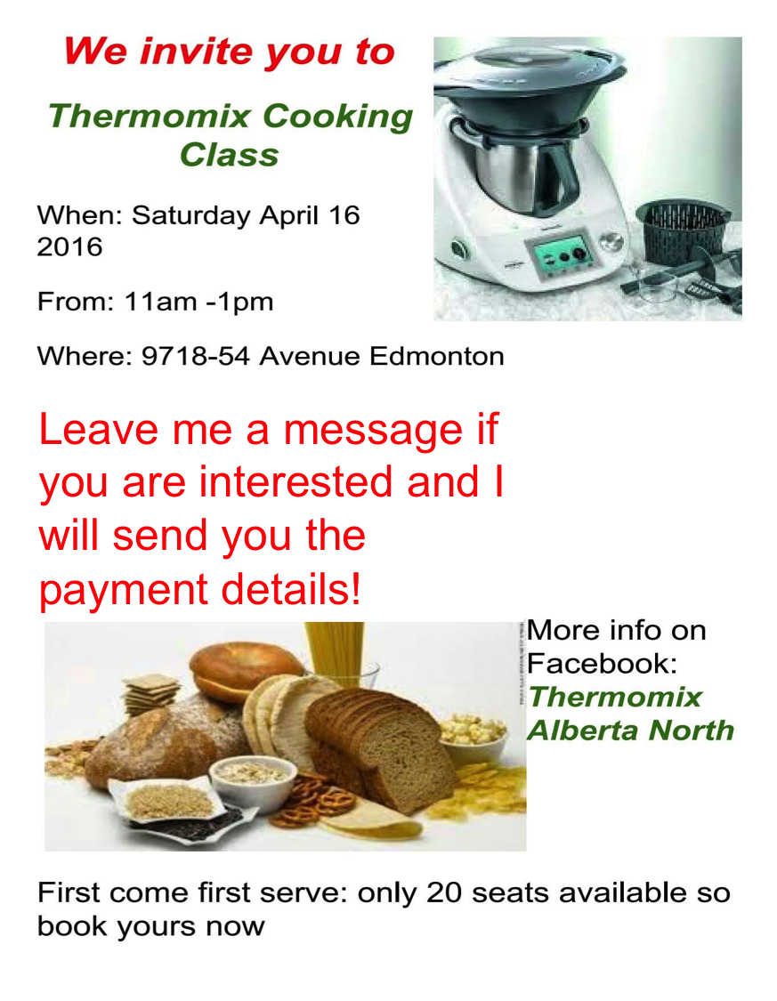 thermomix cooking class in edmonton. Black Bedroom Furniture Sets. Home Design Ideas
