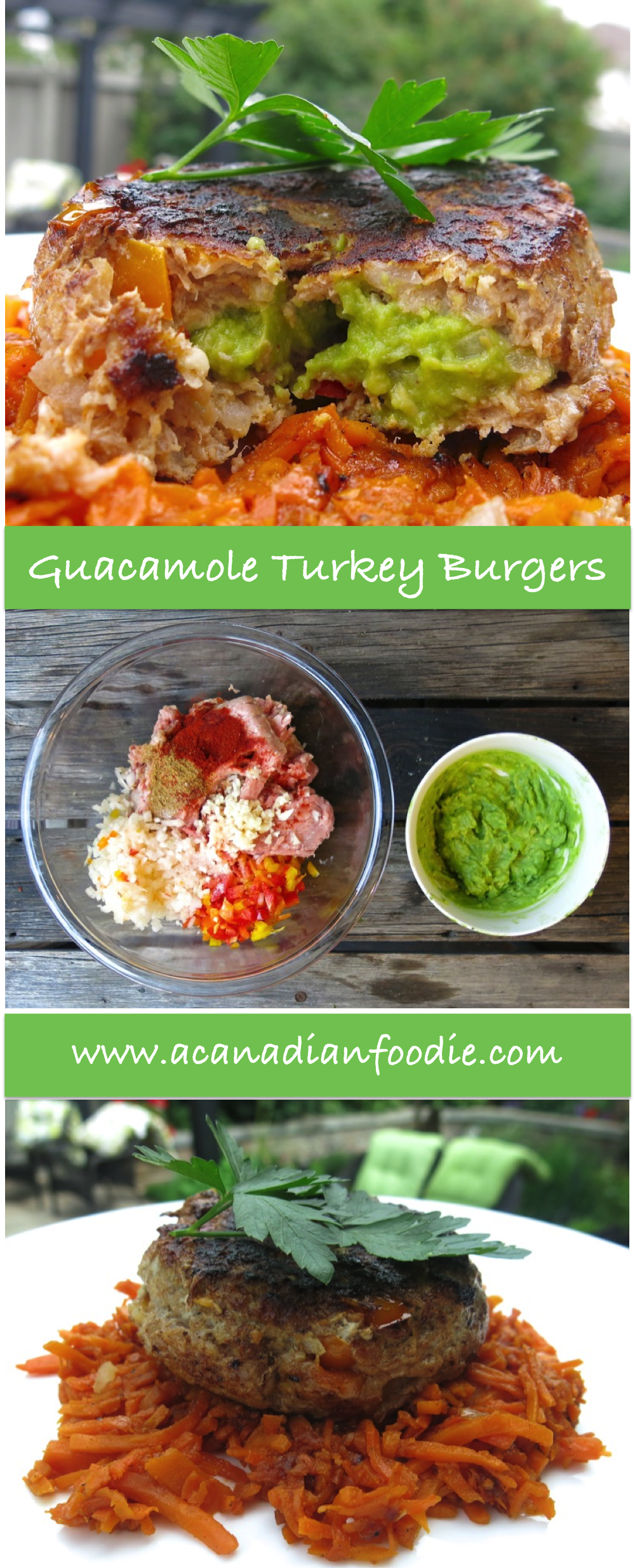 Healthy and Happy Spring Summer with Guacamole Turkey Burgers stuffed with guacamole filling. Step by step images. A spectacular and delish Show Stopper! www.acanadianfoodie.com
