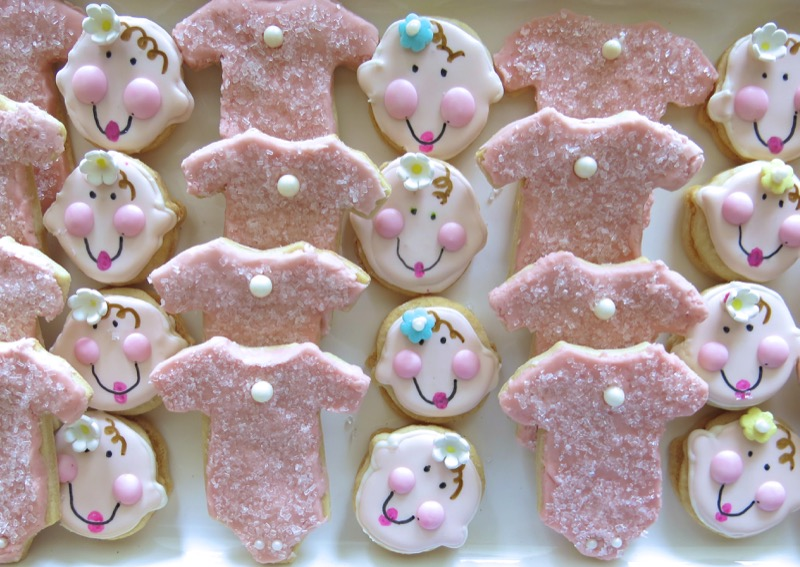 1 Girl Baby Shower Babyface and Onsie Cookie JPG