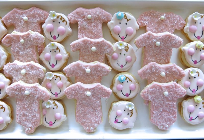 Pink Baby Girl Shower Onsie Butter Cookies for Amy and Heidi