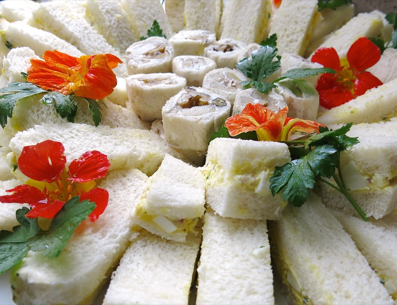6 Egg Salad Tea Sandwiches and Pear and Gorgonzola