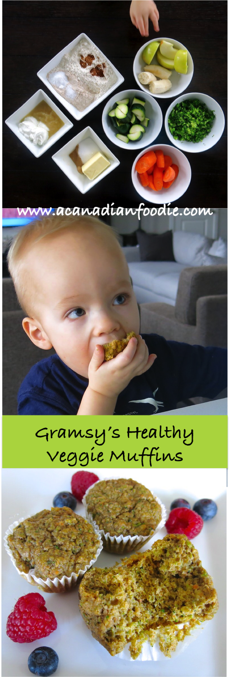 Gramsy's Healthy Veggie Muffins packed with veggies, fruit and whole grains will build strong minds and bodies of the littles you love!