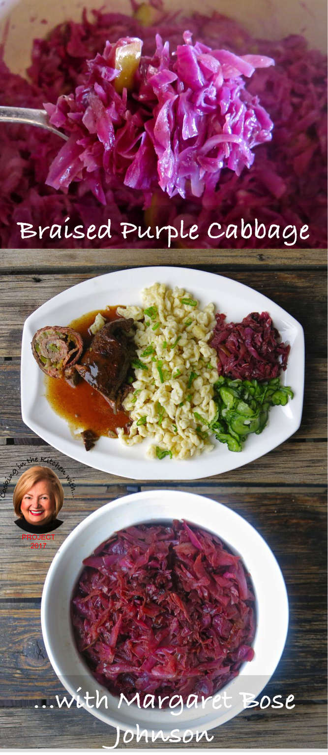 Braised Purple Cabbage or Rotkohl with Margaret Bose Johnson with step-by-step images. Traditional side for German Fleisch Rouladen meal. Freezes beautifully. www.acanadianfoodie.com #ACFValerieCookingwithYOU!
