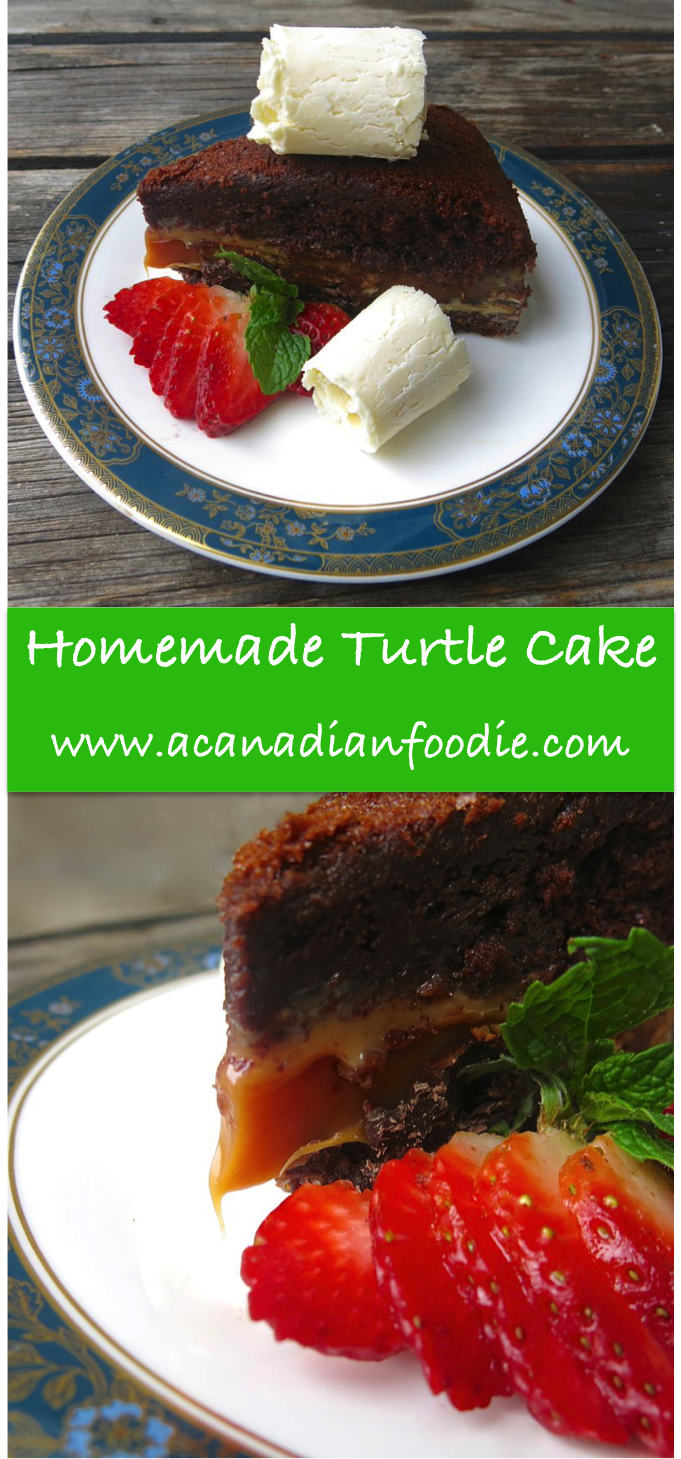 Homemade Turtle Cake with Homemade Caramel Filling: A Canadian Foodie Original Recipe... from the 80's out of a box, now transformed to knock off your socks! A show stopper! www.acanadianfoodie.com